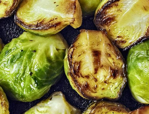Baked Brussels Sprouts With Avocado Dressing