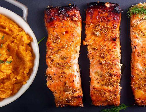 Oven Baked Salmon With Sweet Potato Mash