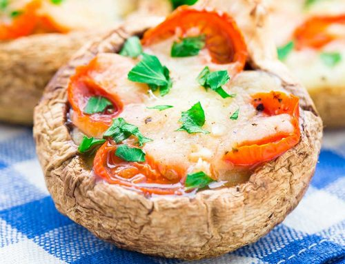 Stuffed Tomato And Cheese Mushrooms
